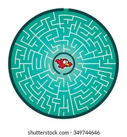 Robin's Round Maze Game (help the robin find way out of the maze - Maze vector puzzle)