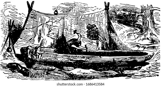 Robinson Crusoe making the boat, this scene shows a boy making the boat, vintage line drawing or engraving illustration