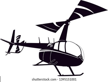 Robinson R66 helicopter vector. Black and white vector helicopter. Vector illustration.