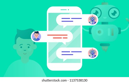 Robo Advisor helps his client, chatting with him via the smartphone. Chatbot concept. Colorful flat vector illustration for web and printing on light green background.