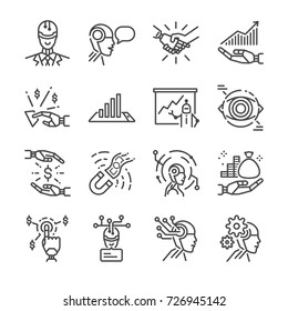 Robo-advisors line icon set. Included the icons as robot, ai, cyborg, Fintech, financial and more.