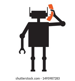 robocall , prerecorded message illustration - robot making a call,