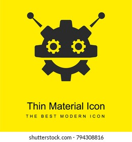 Robocog logo of a robot with cogwheel head shape bright yellow material minimal icon or logo design
