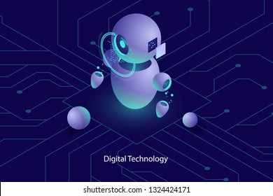 Robot ai artificial intelligence, online consultation and support, computer technology, automated system of analysis and analytic isometric vector dark neon