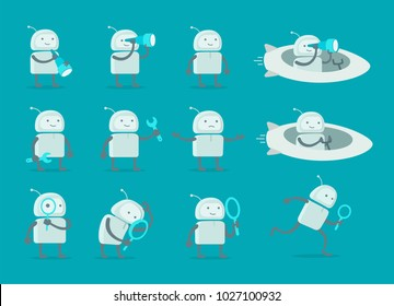 Robot alien character set. With telescope search end wrench repairs. On rocket spaceship. Flat color vector illustration stock clipart