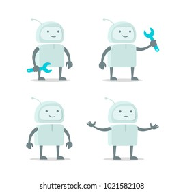 Robot alien character set with wrench spanner repairs. Color vector illustration stock