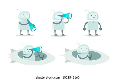 Robot alien character with spyglass set. With telescope search. On rocket spaceship. Flat color vector illustration stock clipart