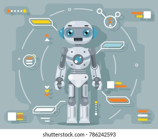 Robot android artificial intelligence futuristic information interface design flat vector illustration