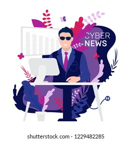 Robot Android breaking hot news anchor or cyber newscaster read business info on tv studio desk laptop. Vector illustration with bionical computer machine instead human reporter on white background