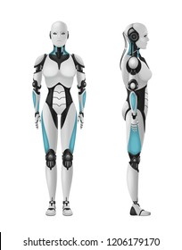 Robot android female realistic 3d composition of humanoid robot with feminine body on blank background vector illustration