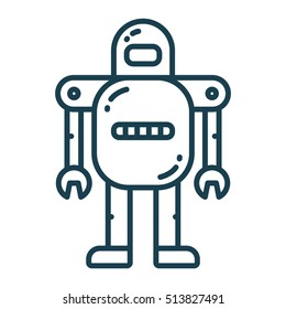 Robot Android Flat Line Icon Illustration Isolated Industrial