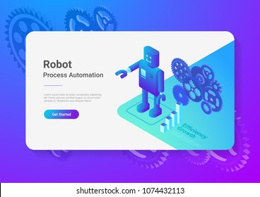 Robot Android retro style Flat Isometric illustration. Process Automation Business Technology Concept.