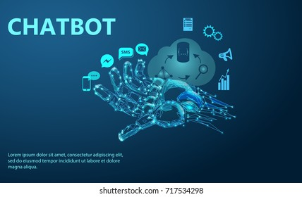 Robot arm. Chat Bot Free Robot Virtual Assistance Of Website Or Mobile Applications, Artificial Intelligence Concept. Low poly vector illustration of a starry sky or Cosmos.