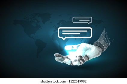 Robot arm. Chatbot. Virtual Assistant Of Website Or Mobile Applications, Artificial Intelligence Concept.Data Mining Technology.Internet technologies. Vector illustration consists of polygons and dots