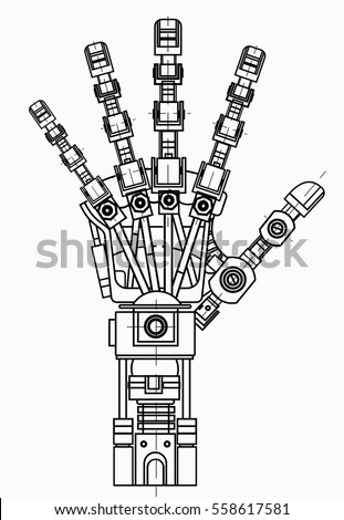 Robot Arm Drawing Model Can Be Stock Vector Royalty Free 558617581