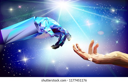 """Robot arm and hand human. Touch Technological conceptThe vector illustration """"Human and robot hands. Concept of the future. Illustration сan be used for artificial intelligence business banner design"""