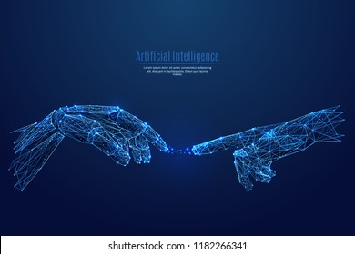 Robot arm and hand human. Touch Technological concept. Low poly blue. Polygonal abstract health illustration. Low poly vector illustration of a starry sky or Cosmos. Vector image in RGB Color mode.