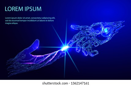 Robot arm and hand human, touch. Illustration can be used for artificial intelligence business banner design. Technological concept. Banner. Low poly vector illustration of a starry sky or Comos.
