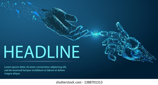 Robot arm and hand human, touch. Illustration can be used for artificial intelligence business banner design.