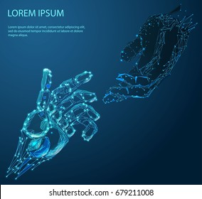 Robot arm and hand human, touch. Illustration can be used for artificial intelligence business banner design. Technological concept. Low poly vector illustration