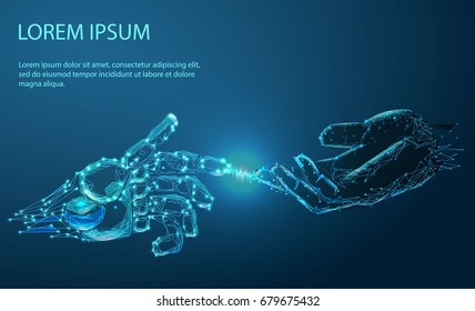 Robot arm and hand human, touch. Illustration can be used for artificial intelligence business banner design. Technological concept. Banner. Low poly vector illustration of a starry sky or Cosmos