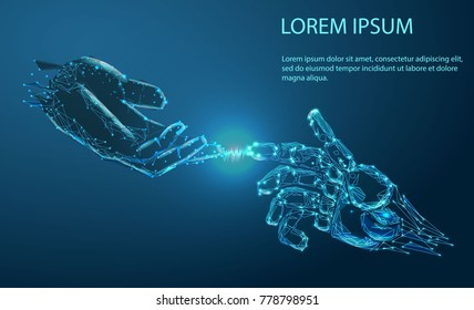 Robot arm and hand human, touch. Illustration can be used for artificial intelligence business banner design. Technological concept. Banner. Low poly vector illustration of a starry sky or Cosmos.