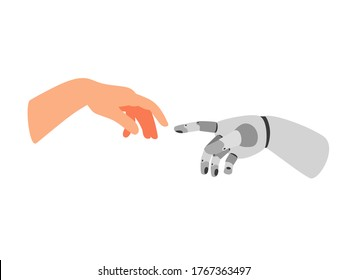 Robot arm and human. Cartoon bionic hand poster, futuristic arms touch, gesture of cooperation people and robots, vector illustration prosthetic technology isolated on white backgro