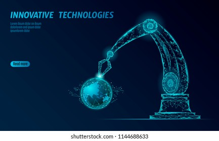 Robot arm low poly manipulator. Earth ecology construct assembly triangle shape. Polygonal connected dots 3D render robotic artificial machinery innovation technology hand vector illustration