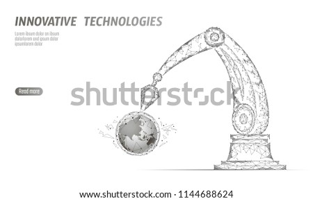 Robot Arm Low Poly Manipulator Earth Stock Vector (Royalty Free