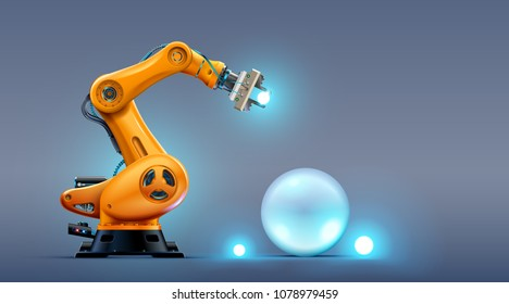 Robot arm on the factory. Automation technology of the industry. 3d hydraulic manipulator on manufacturing production line. Futuristic concept background.