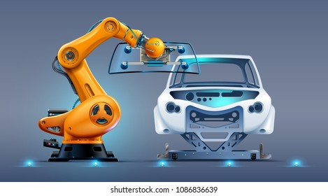robot arm work on car factory or manufacturing line. Robotic hand attaches windshield or glass on car body. Industrial automation production automobile.