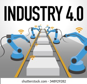 robot arms and conveyor belt, Factory automation, Industry 4.0, Internet of Things, vector illustration