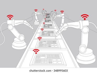 robot arms and conveyor belt, Factory automation, Industry 4.0, Internet of Things, line drawing illustration