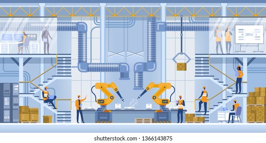 Robot arms machine in intelligent factory industrial on monitoring system software. Production line with workers, automation and user interface concept. Smart industry 4.0