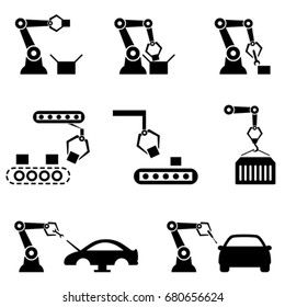 Robot arms manufacturing in automated factory industry 4.0
