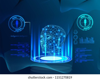 Robot. Artificial intelligence. Biometric identification or Facial recognition system concept. Vector illustration of human face consisting of polygons, points and lines with place for your text
