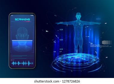 Robot. Artificial intelligence. Biometric identification or Facial recognition system concept. concept of biometric technology, digital Face Scanning, human head combined with electronic board