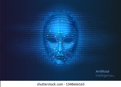 Robot or artificial intelligence cyber face with dots and lines. Neural network connections near bionic or virtual human head. AI and computer technology, identification and intellect concept
