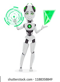 Robot with artificial intelligence, female bot. Cute cartoon character working with holographic interface. Humanoid cybernetic organism. Future concept. Vector Illustration