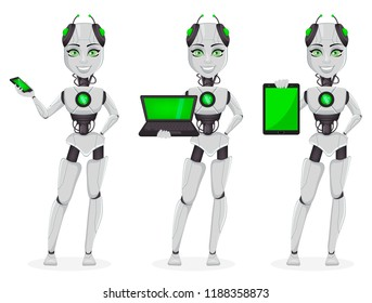 Robot with artificial intelligence, female bot, set of three poses. Cute cartoon character holding smartphone, holding laptop and holding tablet. Future concept. Vector Illustration