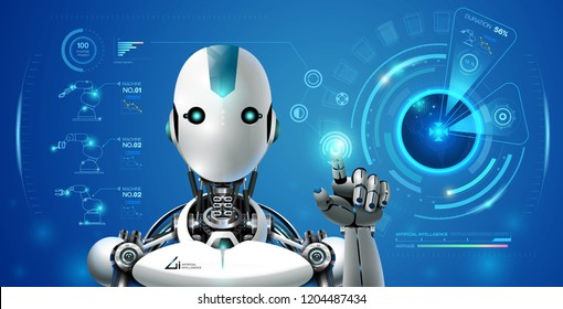 robot artificial intelligence technology smart lerning hologram interface monitor by ai technology industrial 4.0 control