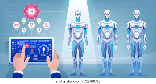 Robot assembly line producing cyborg in factory. Engineer hand using tablet