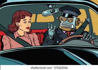 robot autopilot car, woman passenger in unmanned vehicles. Vintage pop art retro illustration. Modern technologies, unmanned vehicles