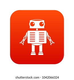 Robot with big eyes icon digital red for any design isolated on white vector illustration
