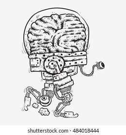 robot bionic brain tired of running exhausted eyed brain cartoon sketch line art no  color