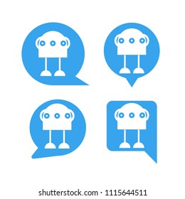 robot in blue speech bubble icons, chat bot