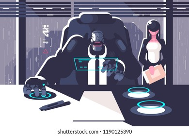 Robot boss with woman secretary in office room. Artificial intelligence concept. Cyborg lady servant droid chief. Flat. Vector illustration