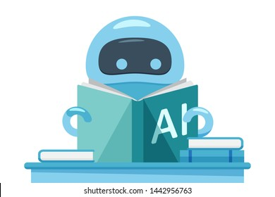 Robot or bot reading book named AI and sitting at the table. Artificial intelligence flat design concept that demonstrate ai, machine learning process. Green and blue colored vector illustration.