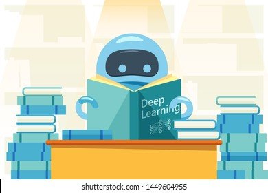 Robot or bot reading deep learning book and sitting at the table. Artificial intelligence flat design concept that demonstrate ai, machine learning process. Vector illustration.