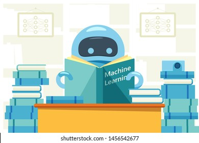 Robot or bot reading machine learning book and sitting at the table. Artificial intelligence flat design concept that demonstrate ai, machine learning process. Vector illustration.